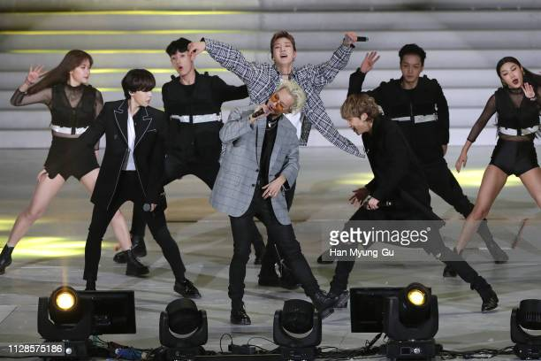 Members of South Korean boy band WINNER performs onstage during the PyeongChang 2018 Olympic and Paralympic Winter Games 1st Anniversary Festival In...