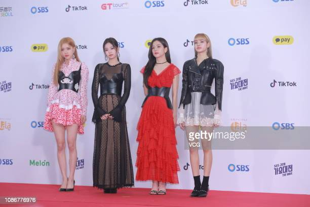 Members of South Korean girl group BlackPink attend the SBS Singing Competition on December 25 2018 in Seoul South Korea