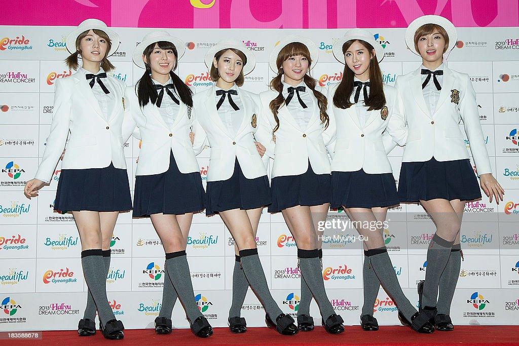 Members of South Korean girl group F-VE DOLLS attend the 2013 Hallyu Dream Concert on October 5, 2013 in Gyeongju, South Korea.