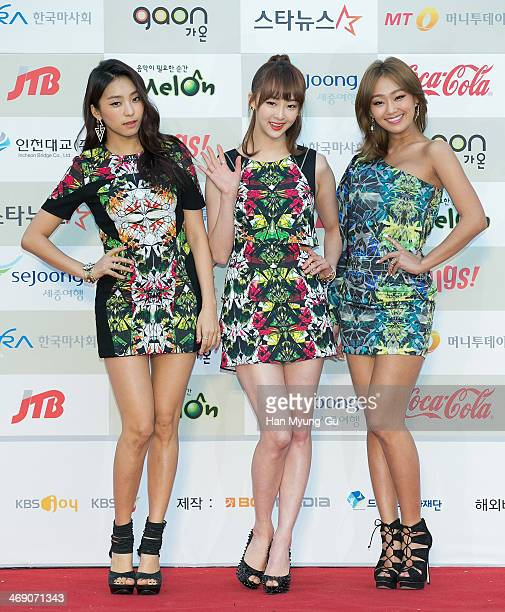 Members of South Korean girl group SISTAR attend 3rd Gaon Chart K-Pop Awards at Olympic Gym on February 12, 2014 in Seoul, South Korea.