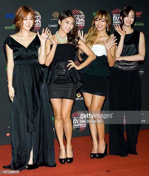 Members of South Korean girl group SISTAR attend during the 2012 Mnet Asian Music Awards Red Carpet on November 30, 2012 in Hong Kong, Hong Kong.