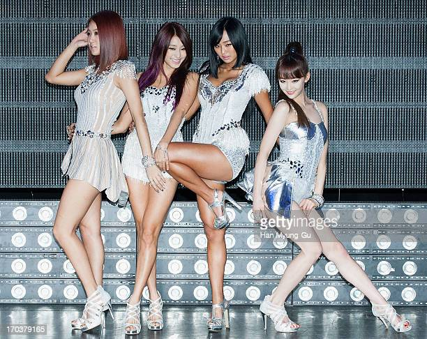 Members of South Korean girl group SISTAR attend during the SISTAR 2nd Album 'Give It To Me' Showcase at Lotte Card Art Hall on June 11 2013 in Seoul...