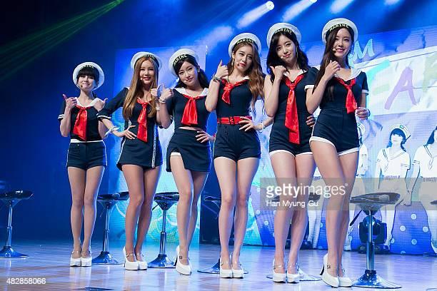 Members of South Korean girl group Tara attend the press showcase for their 11th Mini Album 'So Good' on August 3 2015 in Seoul South Korea