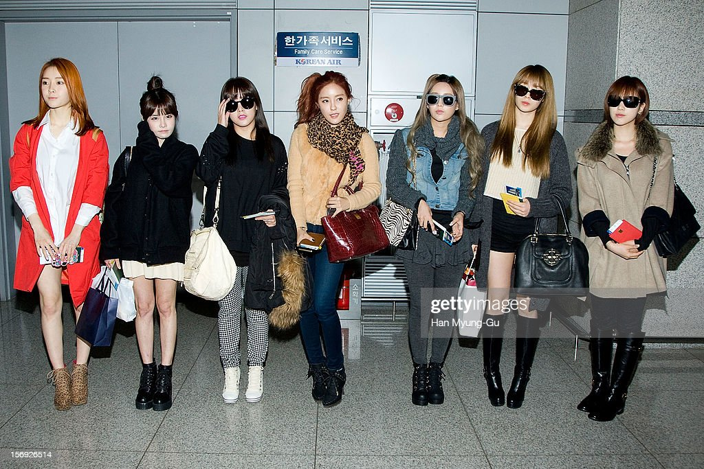 Members of South Korean girl group T-ara is sighted at Incheon International Airport on November 25, 2012 in Incheon, South Korea.