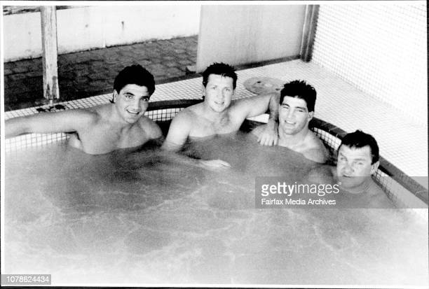 Members of South Sydney Rugby League team having a hot tub at giles baths CoogeeMario Fenech Craig Coleman Les Davidson August 2 1987