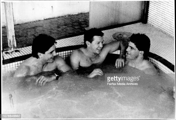 Members of South Sydney Rugby league team having a hot tub at Giles Baths Coogee Mario Fenech Craig Coleman Les Davidson MatesSouths players Mario...