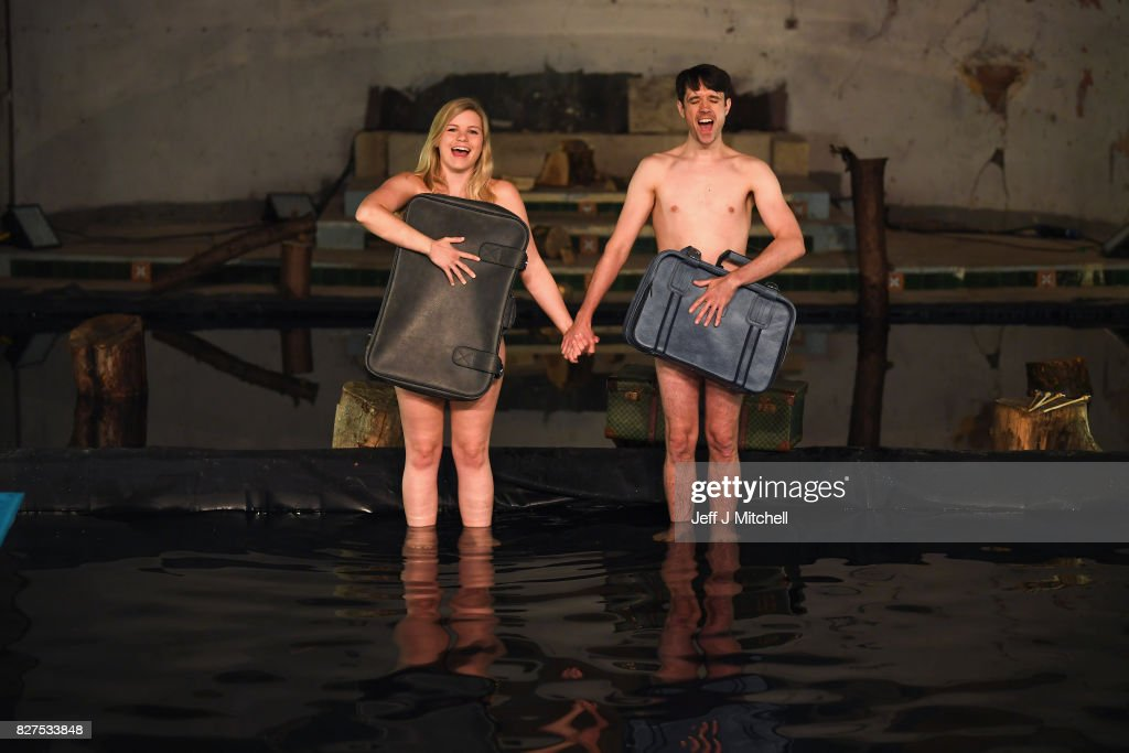 Members of South Wales as Volcano Theatre, Elin Phillips and Christopher Elson, perform part of their Edinburgh Festival Fringe Show 'Seagulls' at The Leith Volcano Venue on August 8, 2017 in Edinburgh, Scotland. In an adaptation of Chekhovs the Seagull actors perform partly submerged in forty five tonnes of water in an interior lake filling St James church in Leith.