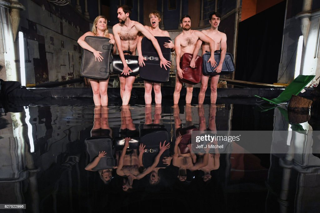 Members of South Wales as Volcano Theatre, Elin Phillips, Gethin Alderman, Mairi Phillips,Neal McWilliams and Christopher Elson, perform part of their Edinburgh Festival Fringe Show Seagulls at The Leith Volcano Venue on August 8, 2017 in Edinburgh, Scotland. In an adaptation of Chekhovs the Seagull actors perform partly submerged in forty five tonnes of water in an interior lake filling St James church in Leith.