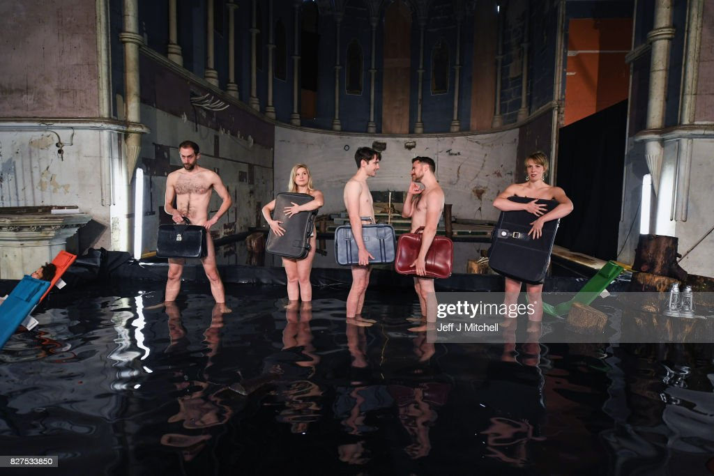 Members of South Wales as Volcano Theatre, Elin Phillips, Gethin Alderman, Mairi Phillips,Neal McWilliams and Christopher Elson, perform part of their Edinburgh Festival Fringe Show 'Seagulls' at The Leith Volcano Venue on August 8, 2017 in Edinburgh, Scotland. In an adaptation of Chekhovs the Seagull actors perform partly submerged in forty five tonnes of water in an interior lake filling St James church in Leith.