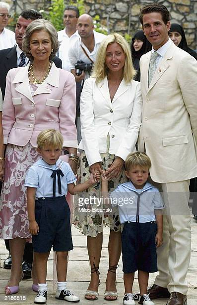 Members of Spanish a Royal families pose for photographs after the christening ceremony of the second daughter of the Princess Alexia and Carlos...