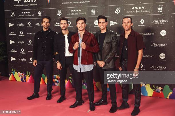 Members of Spanish band Dvicio attend 'Los40 music awards 2019' photocall at Wizink Center on November 08 2019 in Madrid Spain