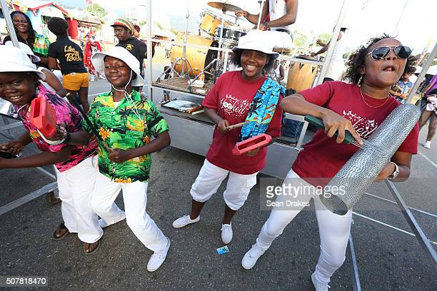 Members of St Margaret's Youth Steel Orchestra perform during the Junior Panorama competition at Queen's Park Savannah as part of Trinidad and Tobago...