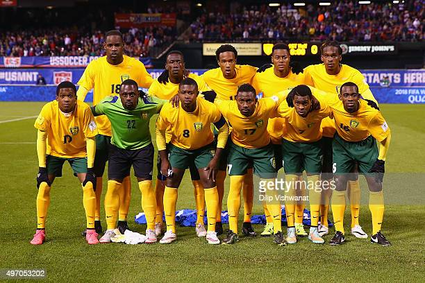 Members of St. Vincent and the Grenadines team pose for a photograph prior to playing against the United States during a World Cup qualifying match...