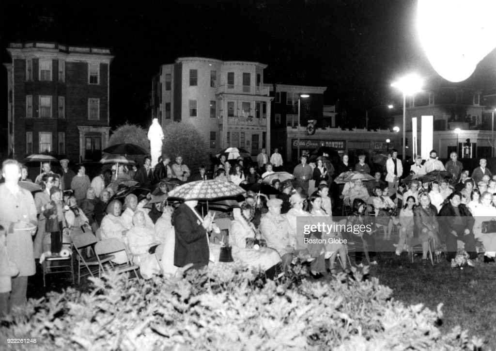 Members of St. William's Church gather for an outdoor Mass in the Dorchester neighborhood of Boston on Sep. 24, 1981, one year to the day after the church was destroyed by a fire. The Mass was held to celebrate a new church building to be erected the following year.