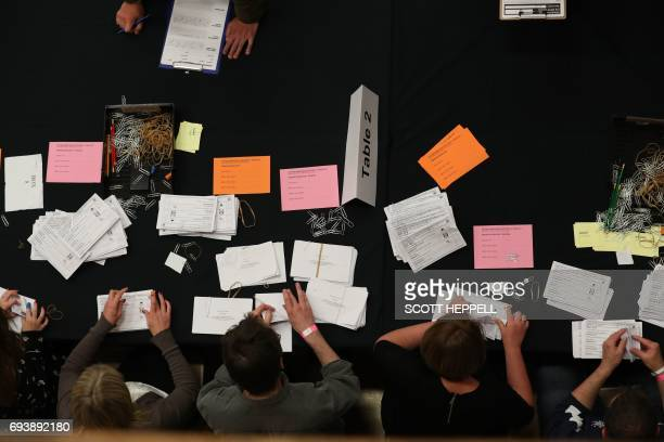 Members of staff count ballots at the Westmorland and Lonsdale constituency counting centre in Kendal north west England on June 8 after the polls...