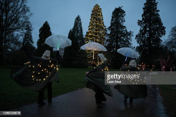 """Members of staff wearing glowing costumes are seen during the launch of """"Glow Wild"""" at Wakehurst on December 03, 2020 in Haywards Heath, England...."""