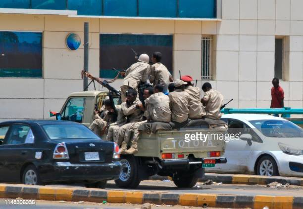 Members of Sudan's security forces patrol on June 6 2019 in Khartoum Sudan's health ministry has said no more than 46 people died in a crackdown on...