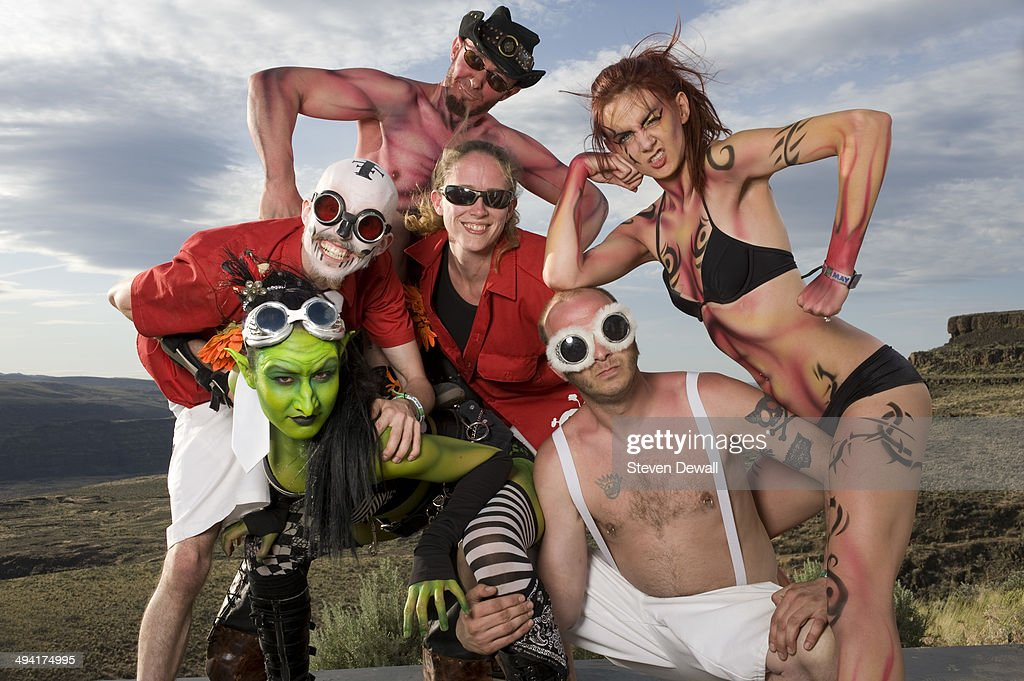 Members of Super Geek League pose for a portrait backstage on day 2 of Sasquatch! Music Festival at the Gorge Amphitheater on May 24, 2014 in George, United States.