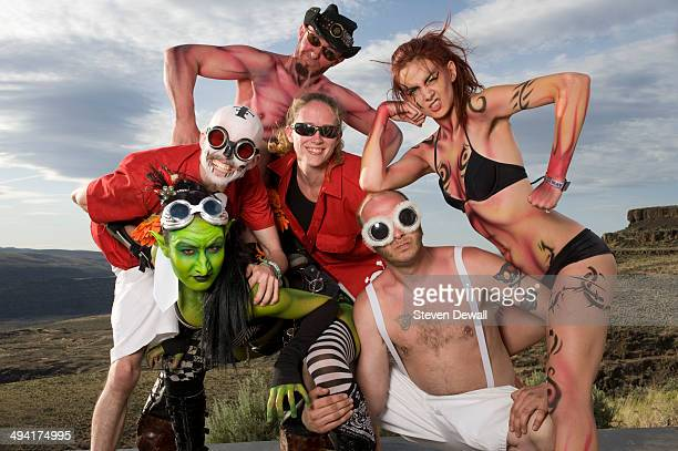 Members of Super Geek League pose for a portrait backstage on day 2 of Sasquatch Music Festival at the Gorge Amphitheater on May 24 2014 in George...