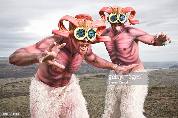 Members of Super Geek Leaguepose for a portrait backstage on day 3 of Sasquatch Music Festival at the Gorge Amphitheater on May 25 2014 in George...