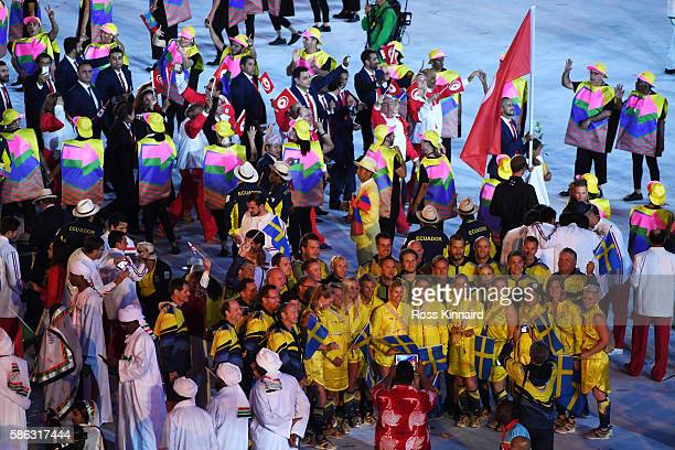Members of Sweden pose for a photo during the Opening Ceremony of the Rio 2016 Olympic Games at Maracana Stadium on August 5 2016 in Rio de Janeiro...