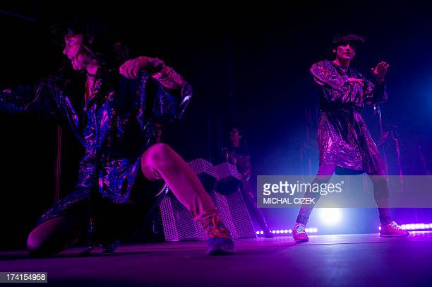 Members of Swedish band The Knife perform on the stage during the Colours of Ostrava music festival on July 20 2013 in Ostrava city North Moravia AFP...
