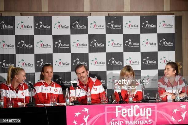 Members of Swiss Fed Cup team Jil Teichmann Viktorija Golubic captain Heinz Gunthardt Timea Bacsinszky and Belinda Bencic attend a joint press...