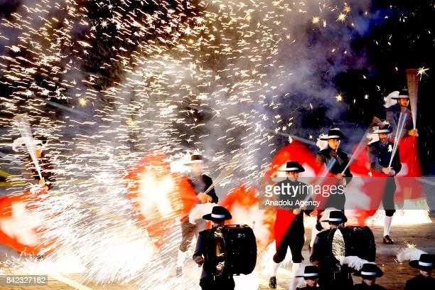 Members of Switzerland's Top Secret Drum Corps perform during the closing of 2017 Spasskaya Tower International Military Music Festival at the Red...