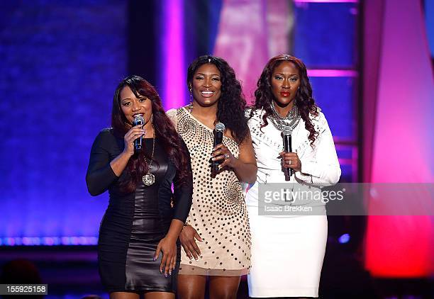 Members of SWV speak onstage during the Soul Train Awards 2012 at PH Live at Planet Hollywood Resort Casino on November 8 2012 in Las Vegas Nevada