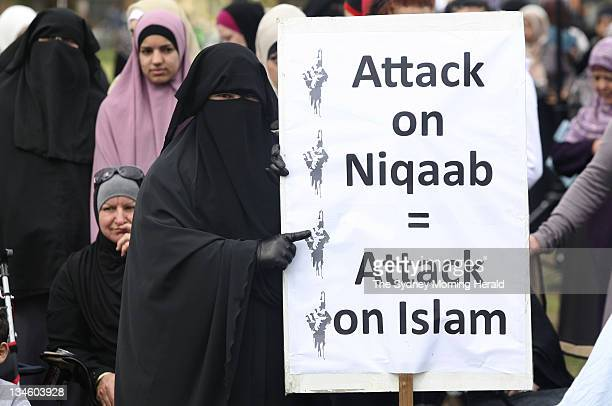 Members of Sydneys Muslim community rally in Parry Park Lakemba to protest the proposed ban of the burqa