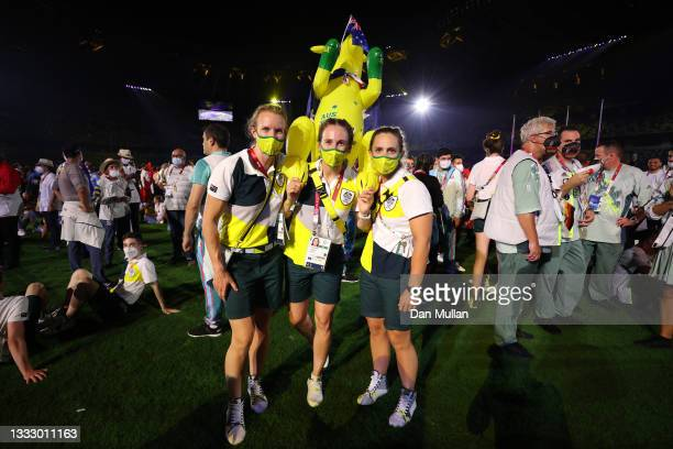 Members of Team Australia during the Closing Ceremony of the Tokyo 2020 Olympic Games at Olympic Stadium on August 08, 2021 in Tokyo, Japan.