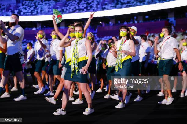 Members of Team Australia walk out during the Opening Ceremony of the Tokyo 2020 Olympic Games at Olympic Stadium on July 23, 2021 in Tokyo, Japan.