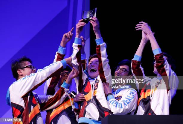 Members of team Beyond Reality celebrate winning the British Esports League Of Legends school championship finals at Insomnia64 Esports Gaming...