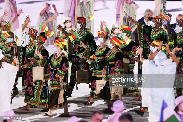 Members of Team Cameroon during the Opening Ceremony of the Tokyo 2020 Olympic Games at Olympic Stadium on July 23, 2021 in Tokyo, Japan.
