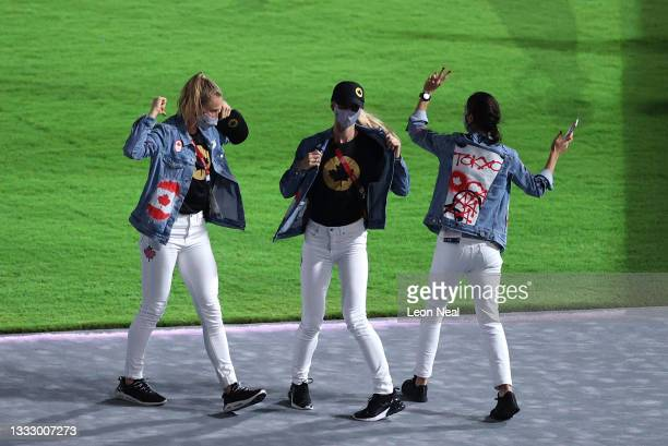 Members of Team Canada during the Closing Ceremony of the Tokyo 2020 Olympic Games at Olympic Stadium on August 08, 2021 in Tokyo, Japan.