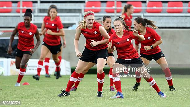 Members of Team Canada in action during a training session in the lead up to the U-20 FIFA Women's World Cup Papua New Guinea 2016 on November 12,...