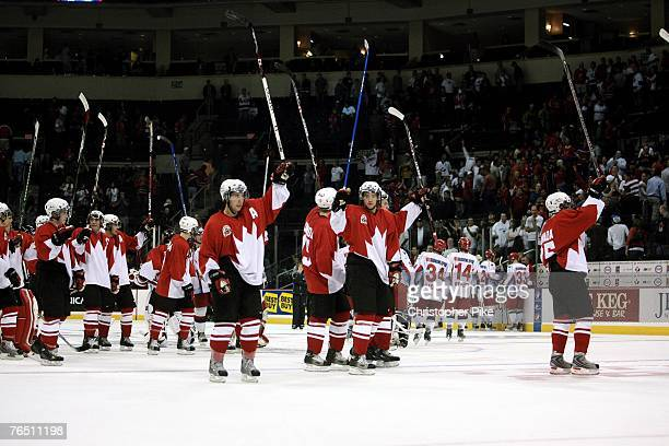 Members of Team Canada salute the crowd after defeating Team Russia 81 during the Hockey Super Series between Canada and Russia on September 4 2007...