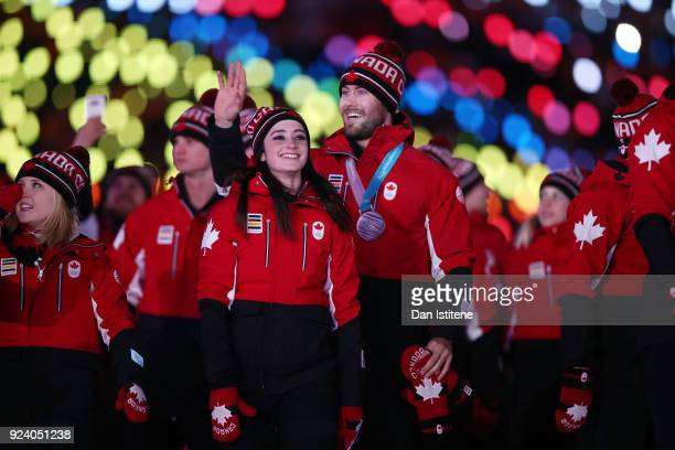 Members of Team Canada walk in the Parade of Athletes during the Closing Ceremony of the PyeongChang 2018 Winter Olympic Games at PyeongChang Olympic...
