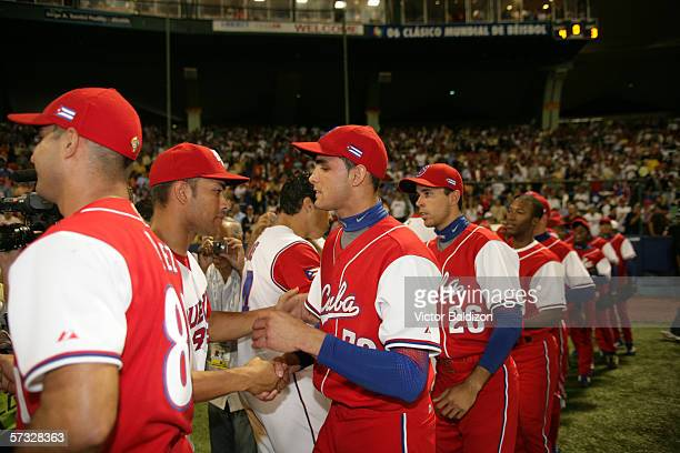 Members of Team Cuba are pictured after the game gainst Puerto Rico on March 15 2006 at Hiram Bithorn Stadium in San Juan Puerto Rico Cuba defeated...