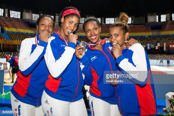 Members of Team Cuba pose with their silver medals won during the Junior Team Women's Sabre competition at the Cadet and Junior PanAmerican Fencing...