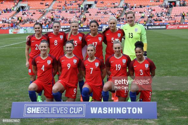 Members of team England pose for a photo before their match against Germany during the 2017 SheBelieves Cup at RFK Stadium on March 7 2017 in...