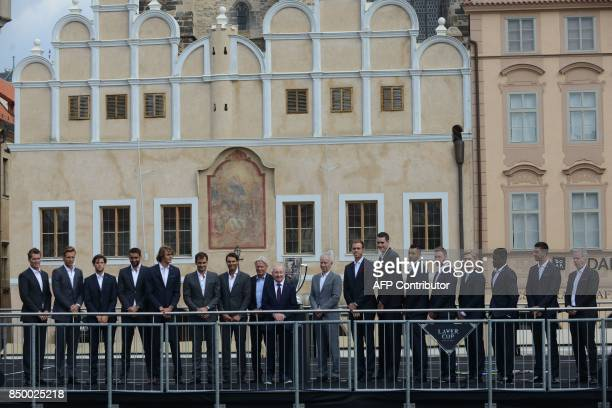 Members of Team Europe and Members of Team World pose on the stage with Former Austrian tennis player Rod Laver ahead of the tennis Laver Cup on...