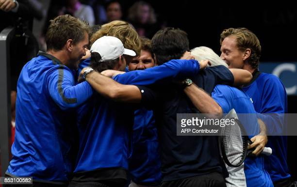 Members of Team Europe celebrate after Roger Federer defeated Nick Kyrgios of Team World at the Laver Cup on September 24 2017 in O2 Arena in Prague...
