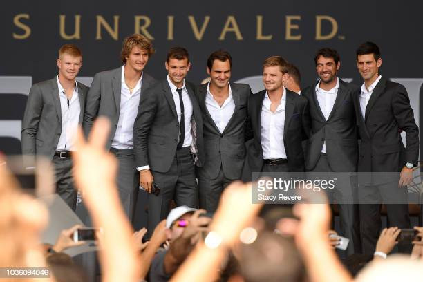 Members of Team Europe Kyle Edmund Alexander Zverev Grigor Dimitrov Roger Federer David Goffin Jeremy Chardy and Novak Djokovic pose for fans during...