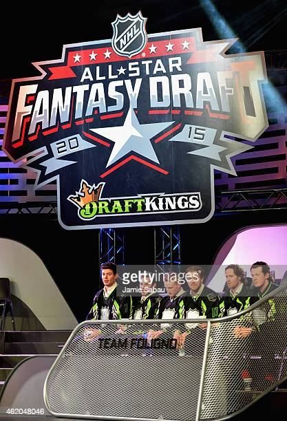 Members of Team Foligno sit onstage during the NHL AllStar Fantasy Draft as part of the 2015 NHL AllStar Weekend at Greater Columbus Convention...