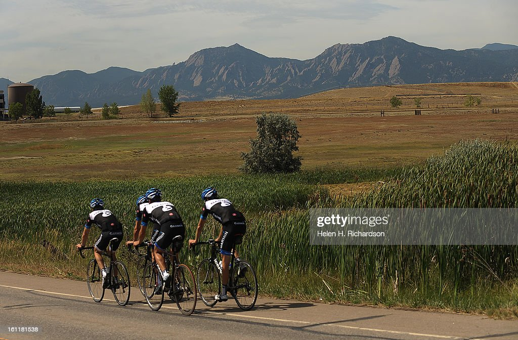 members of team garmin get out along the roads in boulder for a