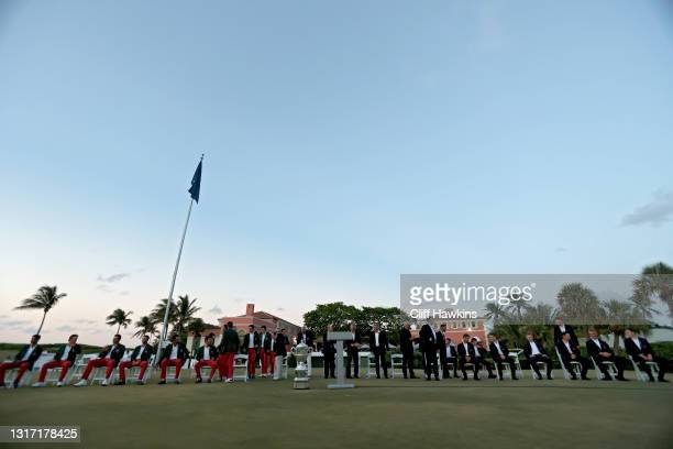 Members of Team Great Britain and Ireland and Team USA gather on Day Two of The Walker Cup at Seminole Golf Club on May 09, 2021 in Juno Beach,...