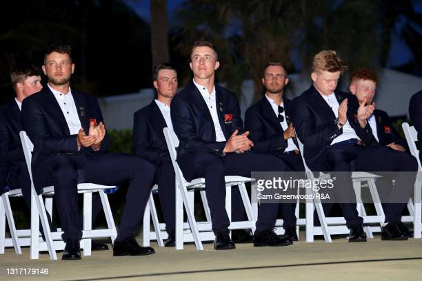 Members of Team Great Britain and Ireland look on during closing ceremonies on Day Two of The Walker Cup at Seminole Golf Club on May 09, 2021 in...