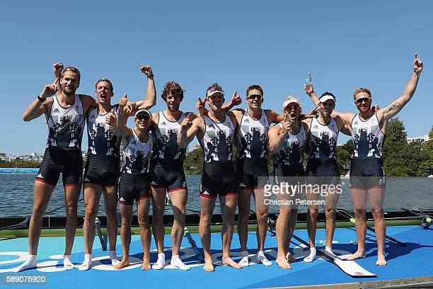 Members of Team Great Britain celebrate winning the gold medal after competing in the Men's Eight Final A on Day 8 of the Rio 2016 Olympic Games at...