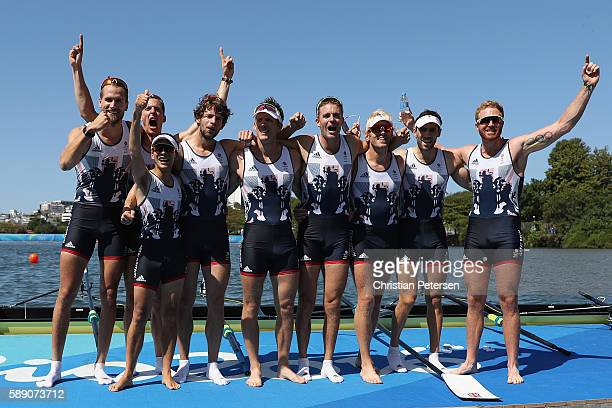 Members of Team Great Britain celebrates winning the gold medal after competing in the Men's Eight Final A on Day 8 of the Rio 2016 Olympic Games at...